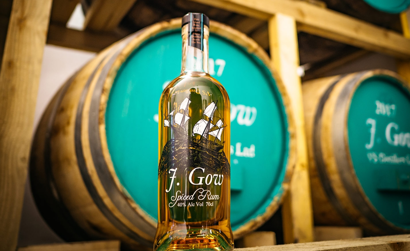 J Gow Spiced Orkney Rum in Barrel room