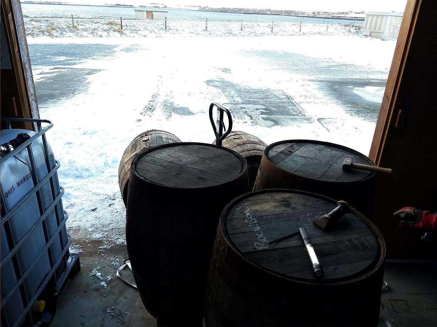barrels and snow