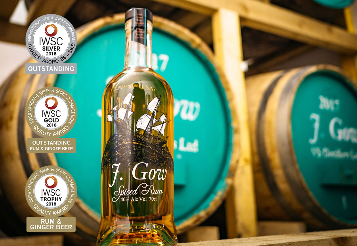 J Gow Spiced rum IWSC Silver outstanding and double gold winner