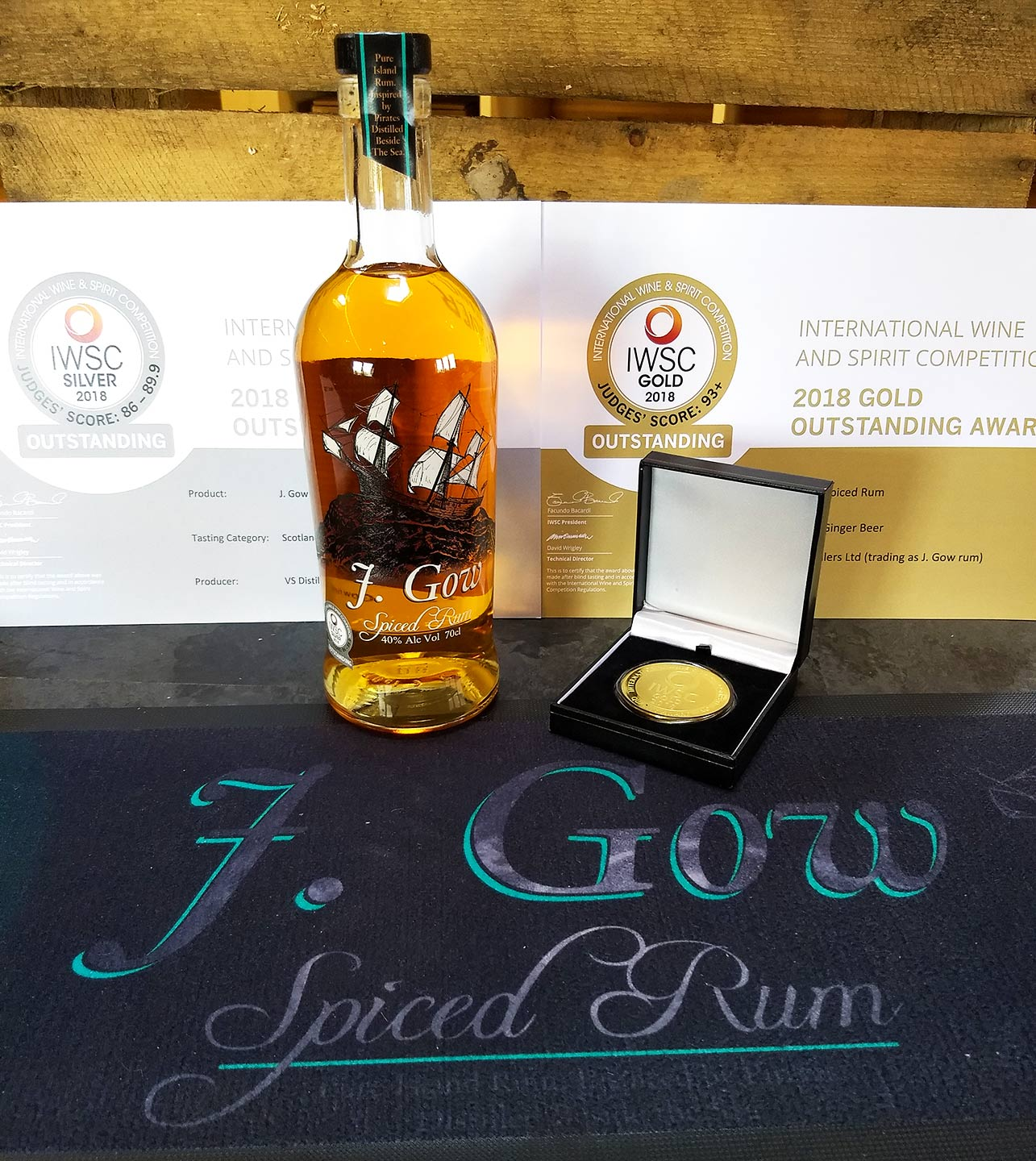 J Gow spiced rum gold outstanding medal rum and ginger beer