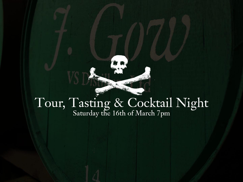 J. gow Scottish rum distillery tour night