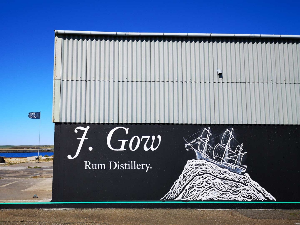J. Gow Scottish rum distillery ship logo hand painted, complete