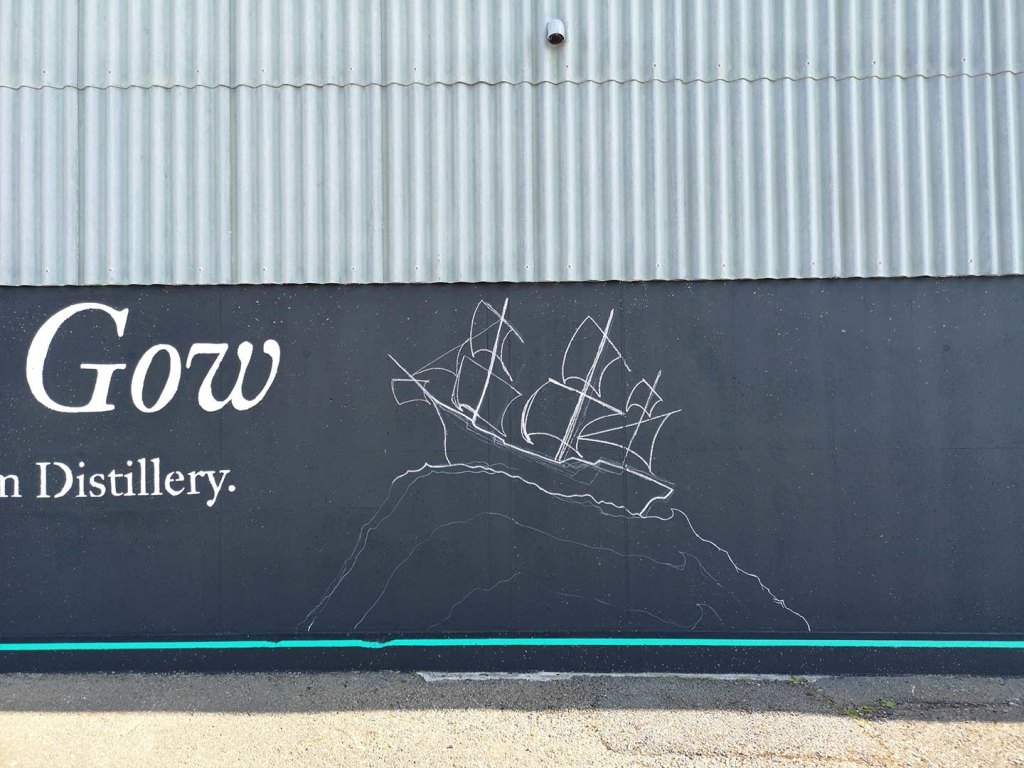 J. Gow Scottish rum distillery ship logo chalk outline