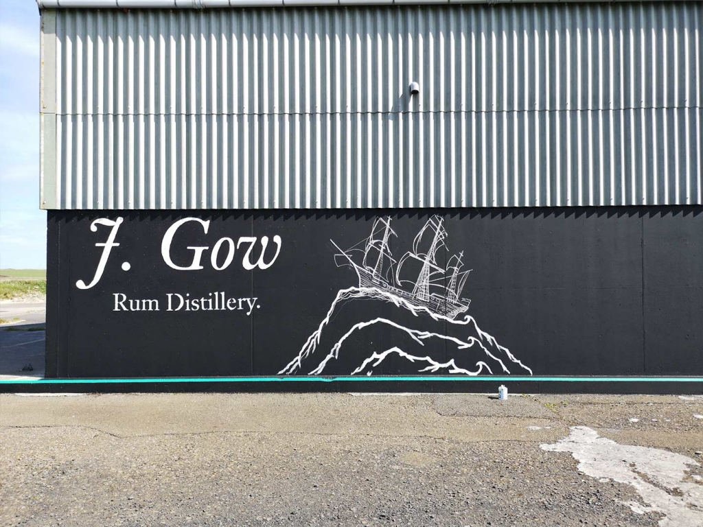 J. Gow Scottish rum distillery ship logo paint outline