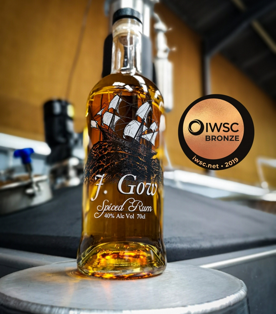 J Gow Scottish spiced rum 2019 iwsc bronze medal winner 86 points