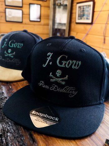 Black J. Gow rum distillery logo snapback