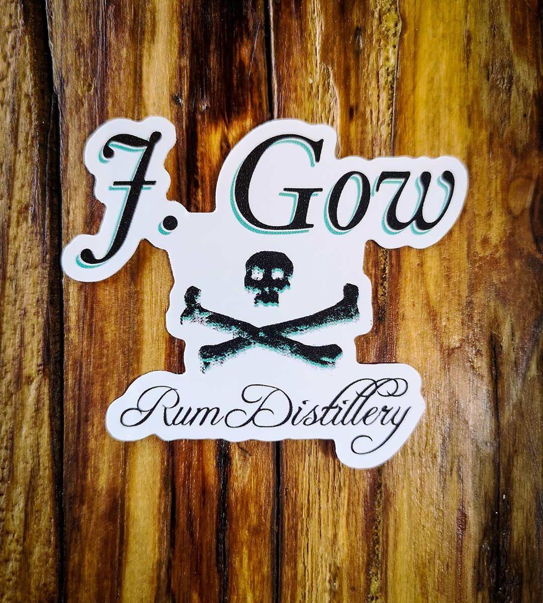 J Gow rum skull logo vinyl sticker